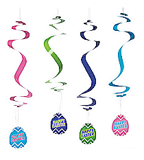 12 Happy Easter Chevron Hanging Swirls #13627357