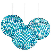 6 Light Blue Chevron Lanterns #13627890