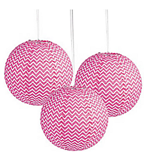 6 Pink Chevron Lanterns #13627893