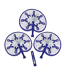 12 Purple Ribbon Folding Fans #13629961