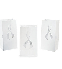 12 White Ribbon Luminary Bags #13629970