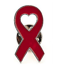 12 Red Ribbon Pins #13630539
