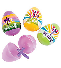 """12 """"He Lives"""" Easter Eggs with Crosses #13630603"""