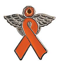 12 Orange Ribbon Angel Pins #13642911