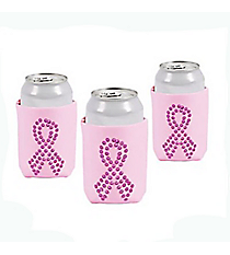 6 Pink Ribbon Bling Can Covers #13653822
