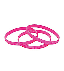 24 Thin Pink Ribbon Bracelets #13657590
