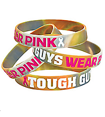 12 Tough Guys Camo Pink Ribbon Bracelets #13657632