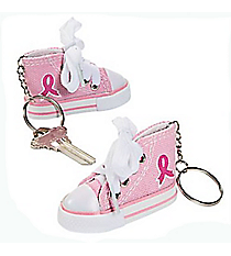 12 Pink Ribbon Tennis Shoe Key Chains #13657933