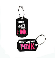 12 Tough Guys Wear Pink Dog Tag Key Chains #13657960