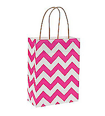12 Hot Pink Chevron Kraft Bags #13676362