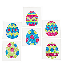 12 Easter Egg Glitter Tattoo Stickers #13683147