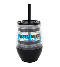 Black Preppy Stripe 10 oz. Double Wall Stemless Wine Glass with Straw #F137117