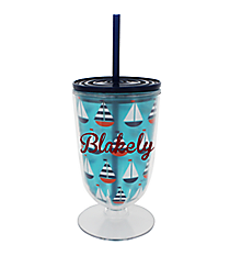 Sailboats 18oz. Double Wall Iced Tea Tumbler with Straw #F137204