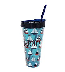 Sailboats 22oz. Double Wall Tumbler with Straw #F137233