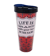 """Life is Grand"" 22 oz. Double Wall Tumbler with Straw #F137237"
