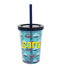 Kid's Sailboats 10 oz. Double Wall Tumbler with Straw #F137239
