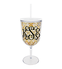 Glittering Gold with Fleur De Lis 25 oz. Double Wall Jumbo Wine Glass with Straw #F137433