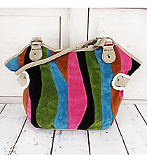 SALE! Rainbow Stripe Suede Tulip Bag #1380