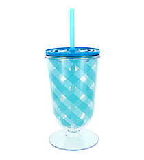 Aqua Gingham 18oz. Double Wall Iced Tea Tumbler with Straw #F138385