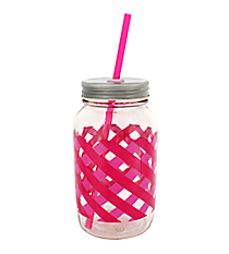 Pink Gingham 24oz Glass Mason Jar with Straw #F138395