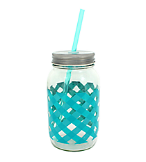 Aqua Gingham 24oz Glass Mason Jar with Straw #F138396