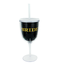 Bride 13 oz. Double Wall Wine Glass with Straw #F138673