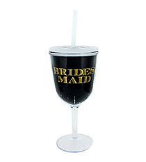 Bridesmaid 13 oz. Double Wall Wine Glass with Straw #F138674