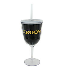 Groom 13 oz. Double Wall Wine Glass with Straw #F138675