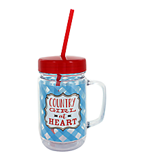 """Country Girl"" 24oz. Double Wall Mason Jar Tumbler with Straw #F138703"