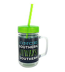 """Once Southern"" 24oz. Double Wall Mason Jar Tumbler with Straw #F138707"