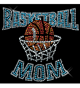 "Sparkling ""Basketball Mom"" 8.5"" X 8"" Rhinestone Applique Iron-On"