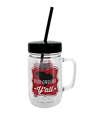 """South Carolina Y'all"" 24oz. Double Wall Mason Jar Tumbler with Straw #F138740"