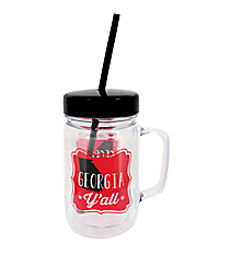 """Georgia Y'all"" 24oz. Double Wall Mason Jar Tumbler with Straw #F138743"
