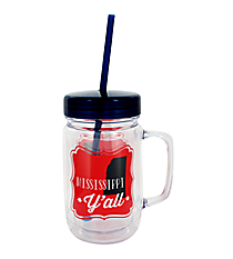 """Mississippi Y'all"" 24oz. Double Wall Mason Jar Tumbler with Straw #F138746"