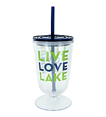 """Live Love Lake"" 18 oz. Double Wall Iced Tea Tumbler with Straw #F138775"