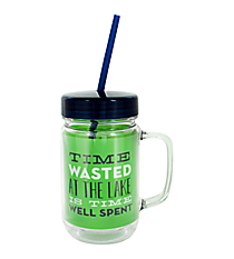 """Time Wasted"" 24oz. Double Wall Mason Jar Tumbler with Straw #F138778"
