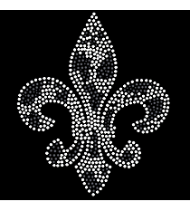 "Radiant ""Silver and Black Fleur De Lis"" 6"" X 7"" Rhinestone Applique Iron-On"