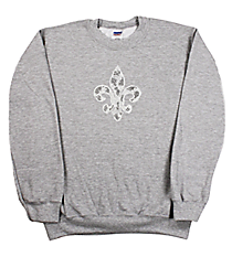 "Radiant ""Silver and Black Fleur De Lis"" Heavy-weight Crew Sweatshirt 6"" X 7"" Design 13889 *Choose Your Shirt Color"