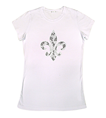 "Radiant ""Silver and Black Fleur De Lis"" Ladies Short Sleeve Fitted T-Shirt 6"" X 7"" Design 13889 *Choose Your Shirt Color"