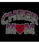 "Dazzling ""Cheer Mom"" 7.5"" X 4.5"" Rhinestone Applique Iron-On"