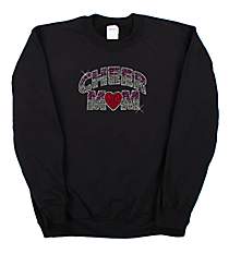 "Dazzling ""Cheer Mom"" Heavy-weight Crew Sweatshirt 7.5"" X 4.5"" Design 13892 *Choose Your Shirt Color"