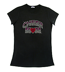 "Dazzling ""Cheer Mom"" Ladies Short Sleeve Fitted T-Shirt 7.5"" X 4.5"" Design 13892 * Choose Your Shirt Color"