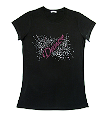 "Dazzling ""Dance"" Ladies Short Sleeve Fitted T-Shirt 8.5"" X 5.5"" Design 13893 * Choose Your Shirt Color"