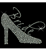 "Sparkling ""Bride and High Heel"" 7.25"" X 5.5"" Rhinestone Applique Iron-On"