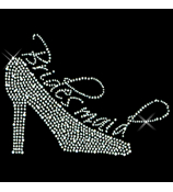 "Sparkling ""Bridesmaid and High Heel"" 8.5"" X 6"" Rhinestone Applique Iron-On"