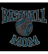 "Blue Baseball Mom 8"" X 6.75"" Rhinestone Applique Iron-On #13901"