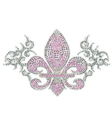 Fleur De Lis with Gray Swirls Rhinestone Applique Iron-On #13911