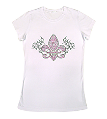 "Dazzling ""Fleur De Lis with Gray Swirls"" Ladies Short Sleeve Fitted T-Shirt 10.75"" X 6.5"" Design 13911 * Choose Your Shirt Color"