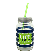 """Life is Better"" 24oz Glass Mason Jar with Straw #F139385"