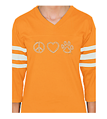 "Sparkling ""Peace, Heart, Paw"" Ladies Football Tee 8.75"" X 2.5"" Design 13949 * Choose Your Shirt Color"